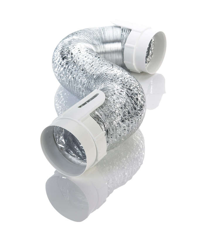 Ace  8 ft. L x 4 in. Dia. Silver/White  Aluminum  Vent Kit