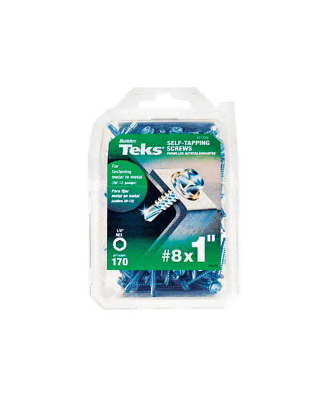 ITW  Teks  No. 10   x 1 in. L Slotted  Hex  Zinc  Steel  Screws  170 per box 1 pk