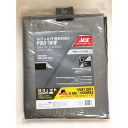 Ace  10 ft. W x 12 ft. L Heavy Duty  Polyethylene  Tarp  Black/Silver