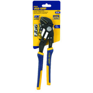 Irwin  Vise-Grip  10 in. Nickel Chrome Steel  Straight Jaw Tongue and Groove Pliers  Blue/Yellow  1