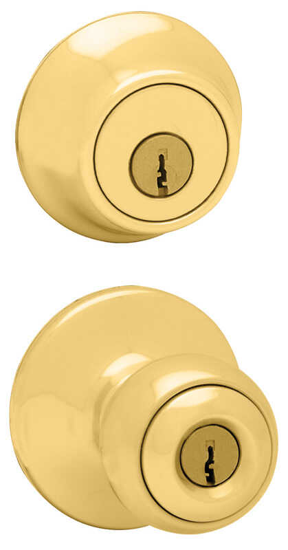 Kwikset  Polo  Polished Brass  Steel  1-3/4 in. Entry Lock and Single Cylinder Deadbolt  ANSI/BHMA G