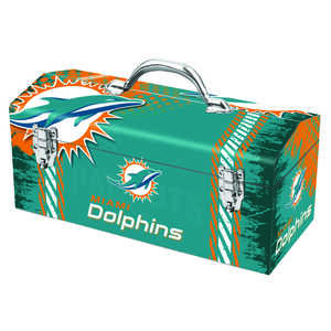 Sainty International  16.25 in. Steel  Miami Dolphins  7.1 in. W x 7.75 in. H Art Deco Tool Box