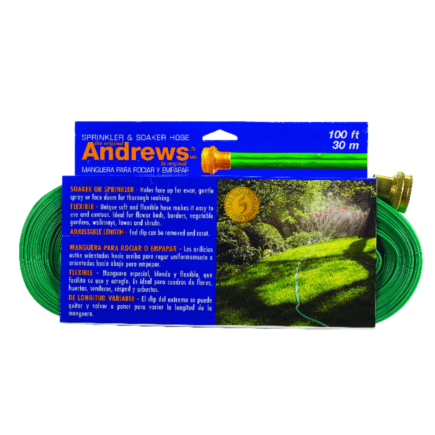 Andrews 1 in. Dia. x 100 ft. L Green Vinyl Gentle Soaker