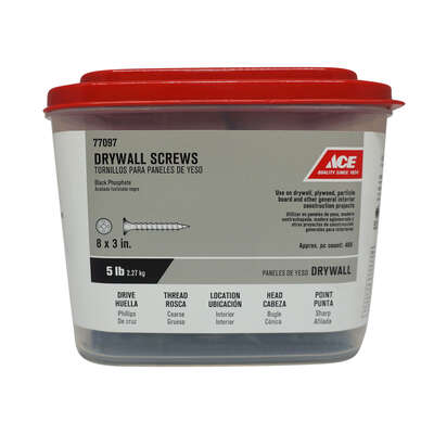 Ace  No. 8   x 3 in. L Phillips  Drywall Screws  5 lb. 472 pk