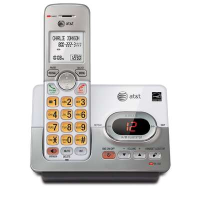 AT&T  Digital  Cordless Silver  Telephone  Built In Answering Machine 1 Number of Handsets