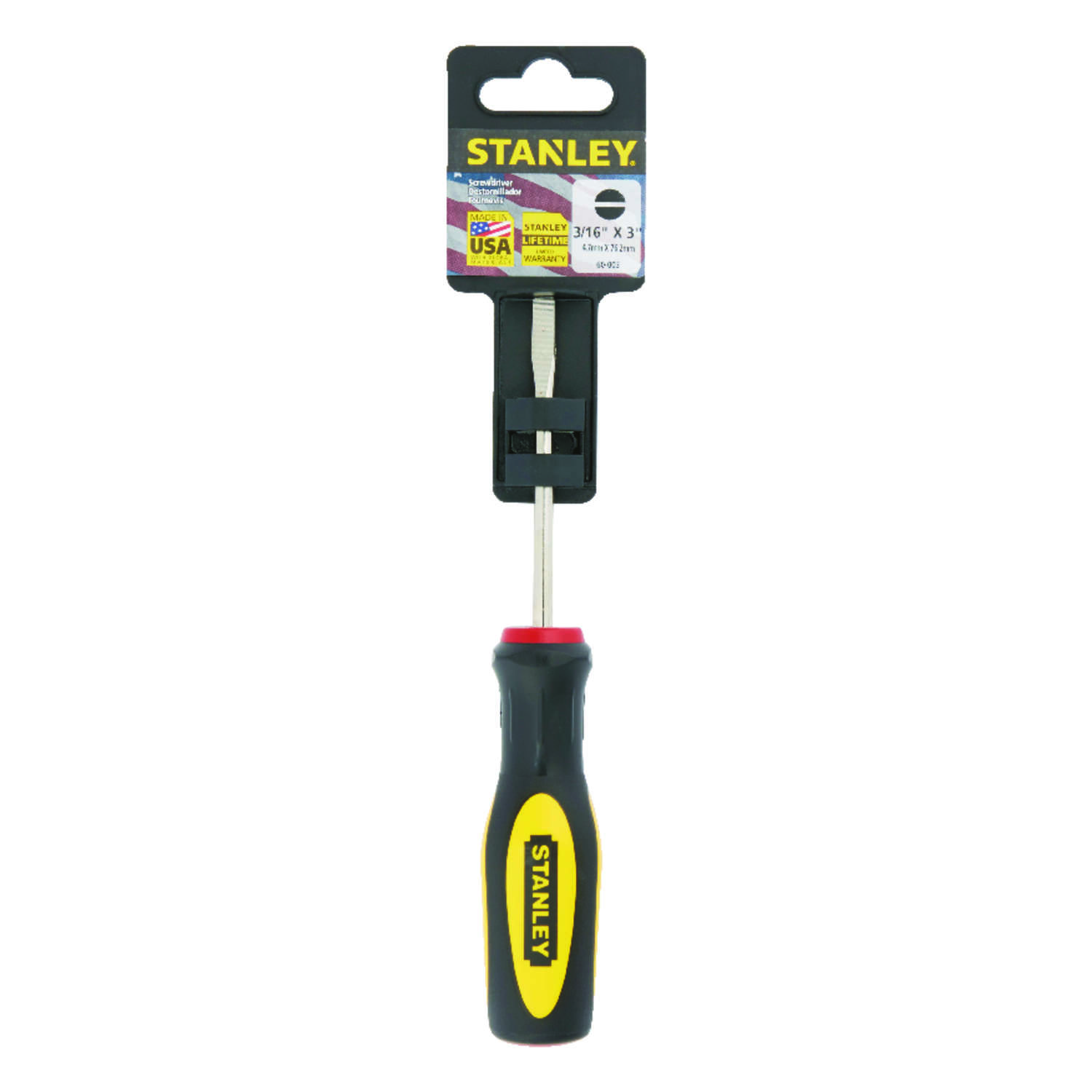Stanley  3 in. Fluted Cabinet Slotted  Screwdriver  Steel  Yellow  1 EA 3/16