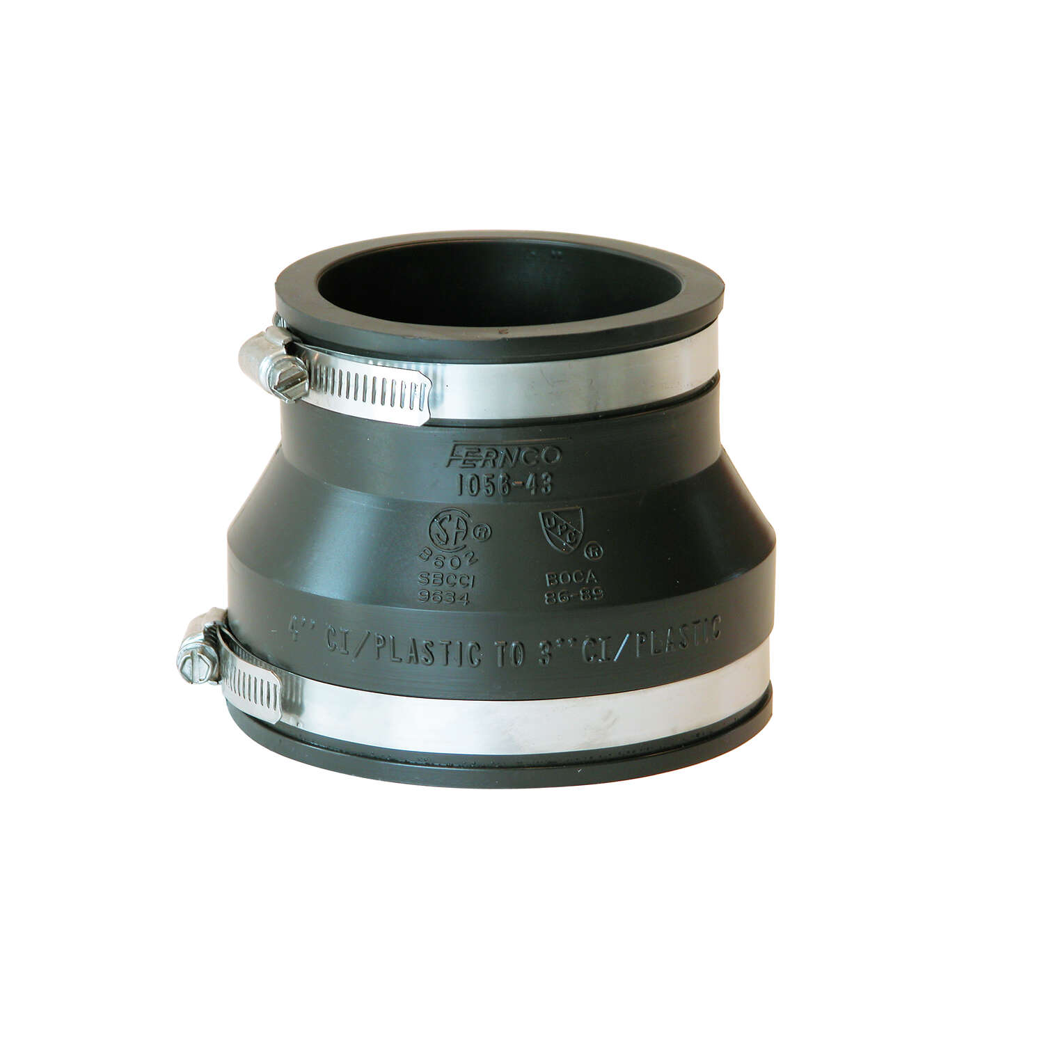 Fernco  Schedule 40  4 in. Hub   x 3 in. Dia. Hub  PVC  Flexible Coupling