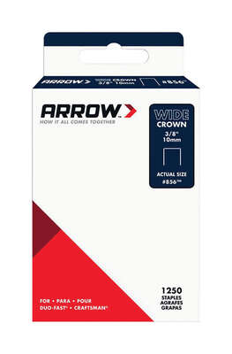 Arrow Fastener #856 1/2 in. W x 3/8 in. L 18 Ga. Wide Crown Standard Staples 1250 pk