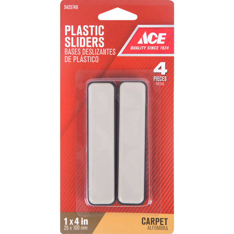Ace  Plastic  Slide Glide  Brown  Rectangle  1 in. W x 4 in. L 4 pk Self Adhesive