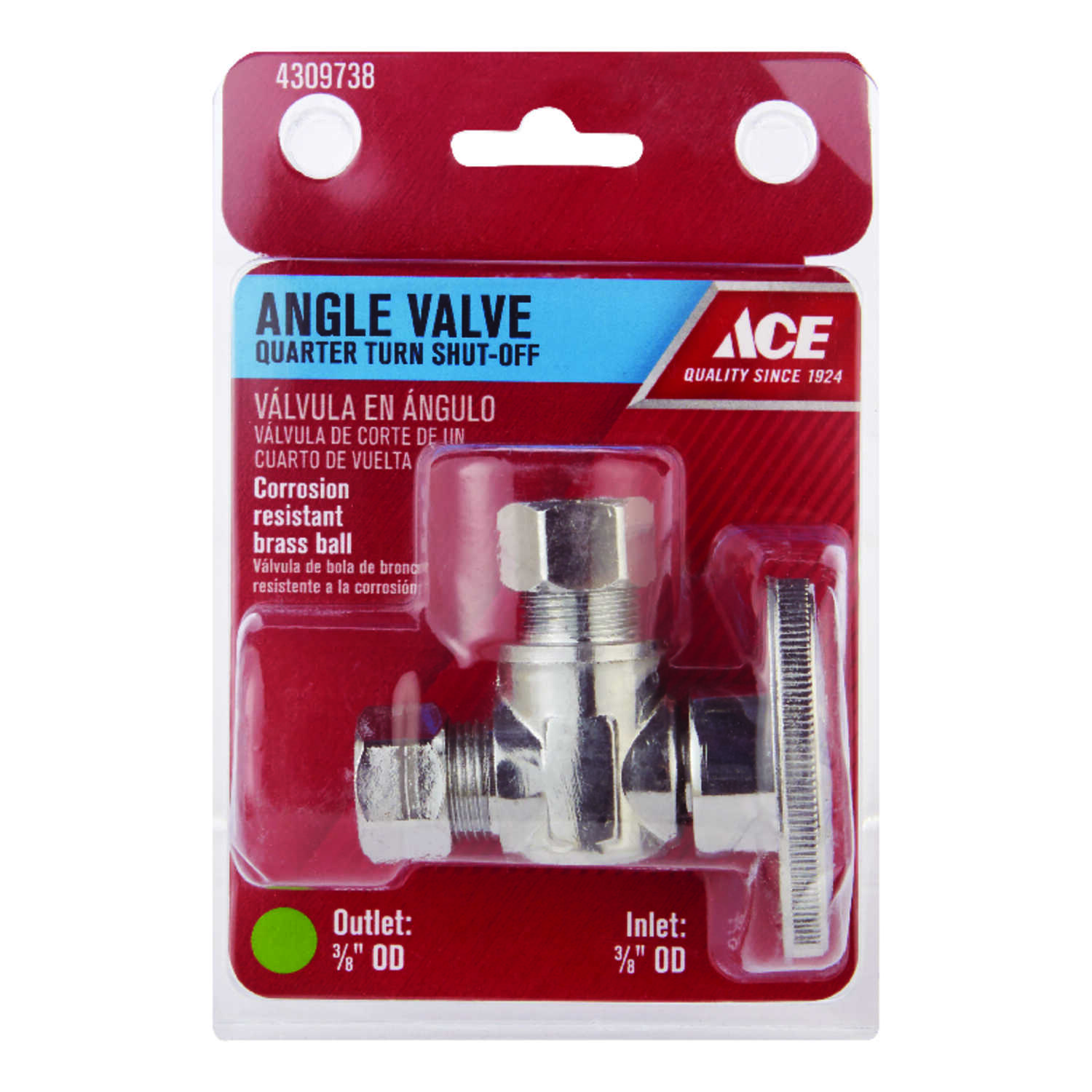 Ace  3/8 in. Dia. x 3/8 in. Dia. x 3/8 in.  Ball  Shut-Off Valve  Brass