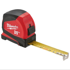Milwaukee  25 ft. L x 1.65 in. W Compact  Tape Measure  Red  1 pk