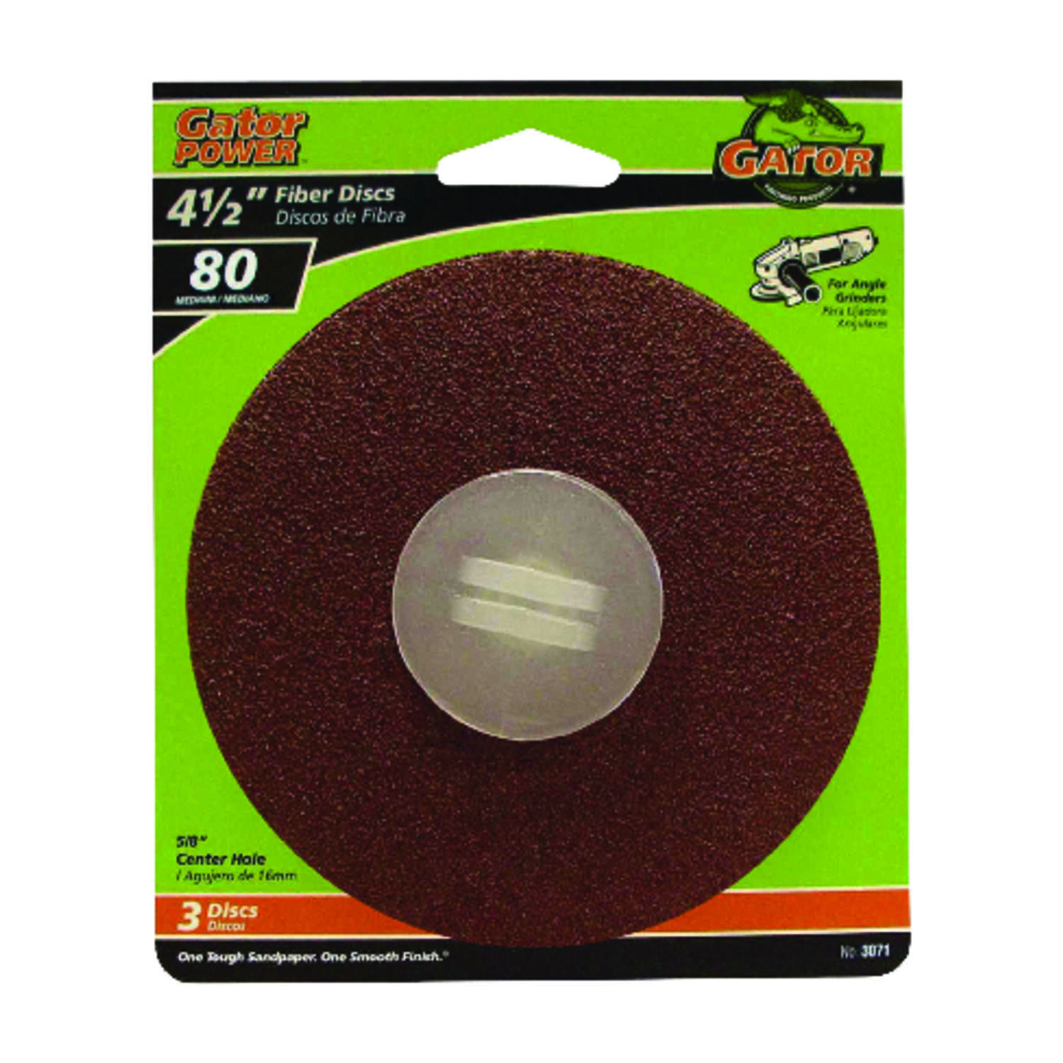 Gator  4.5 in. Center Mount  Fiber Disc  Medium  3 pk 80 Grit Aluminum Oxide