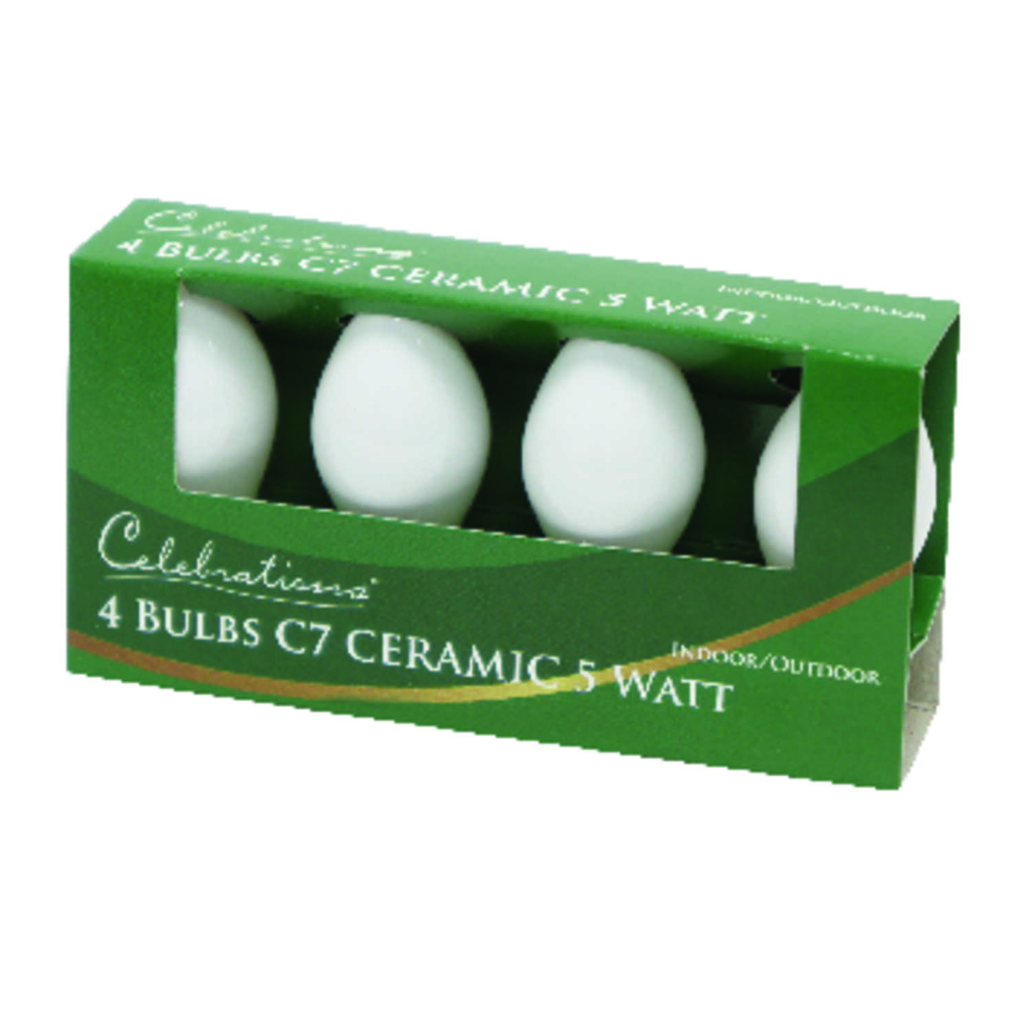 Celebrations  Incandescent  Ceramic C7  Replacement Bulb  White  4 pk