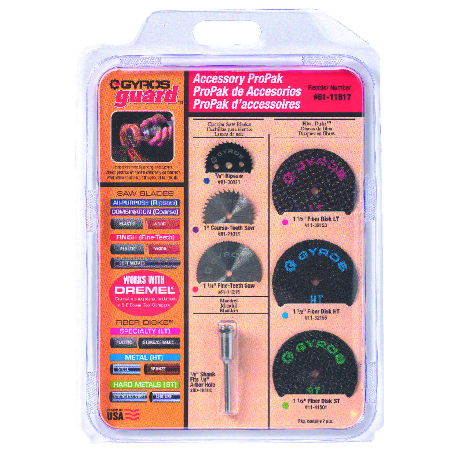 Gyros Tools  ProPack  1 1/4 in.   x 4 in. L x 1/8 in. Dia. High Speed Steel  Rotary Accessory Kit  7