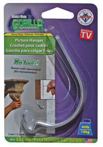 Monkey Hook  Galvanized  Steel  Picture Hanger  Gorilla  40 lb. 2 pk
