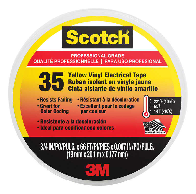Scotch  3/4 in. W x 66 in. L Yellow  Electrical Tape  Vinyl