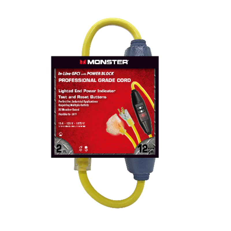 Monster Cable  Indoor and Outdoor  2 ft. L Yellow  12/3 SJTW  Triple Outlet Cord