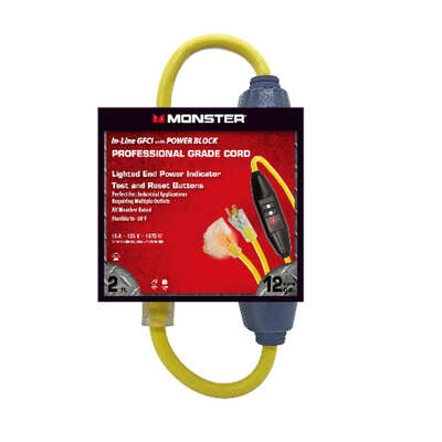 Monster Cable  Indoor and Outdoor  2 ft. L Yellow  Multiple Outlet In-line GFCI Cord  12/3 SJTW