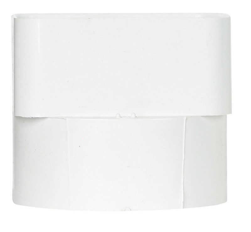 Genova  4 in. H x 3 in. W x 4 in. L White  Plastic  Downspout Adapter