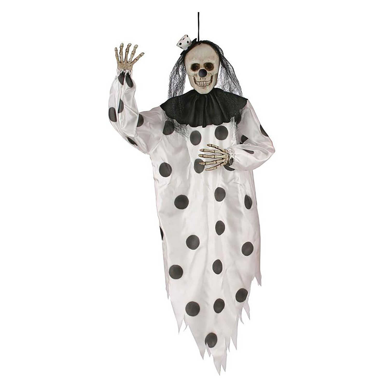 Fun World  Hanging Skeleton Clown  36 in. H x 10 in. W x 5 in. L 1 pk Halloween Decoration