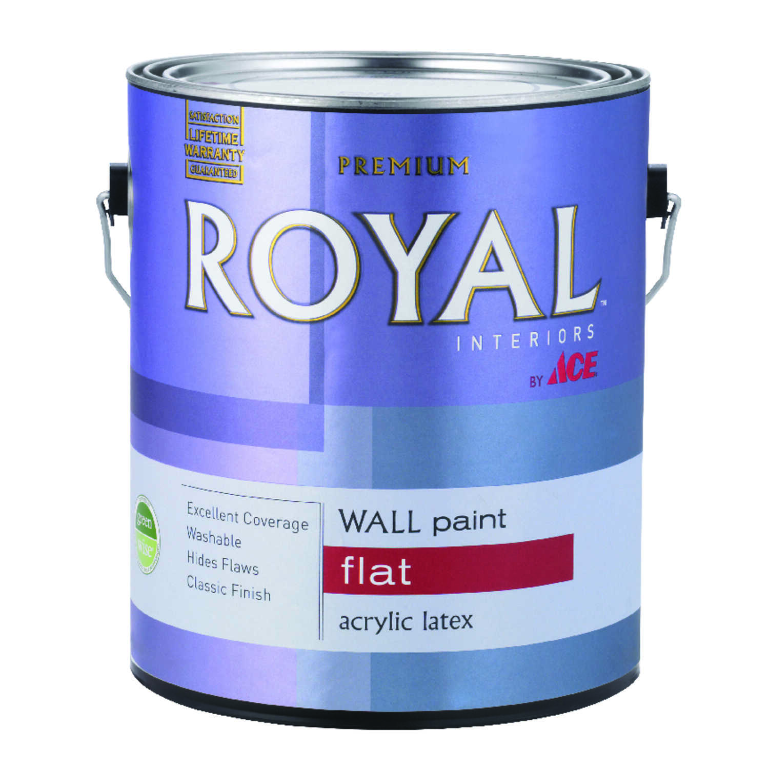 Ace  Royal  Flat  Vinyl Acetate/Ethylene  High Hiding White  1 gal. Paint