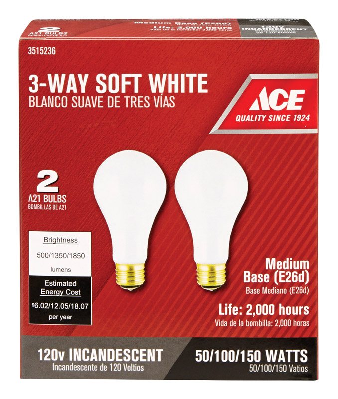 Ace 50 100 150 Watts A21 Incandescent Light Bulb 500 1350 1850