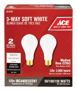 Ace  50/100/150 watts A21  Three Way Bulb Incandescent Light Bulb  500/1350/1850 lumens Soft White