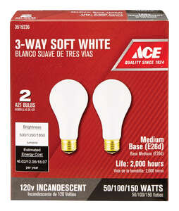Ace  50/100/150 watts A21  Incandescent Light Bulb  500/1350/1850 lumens Soft White  A-Line  2 pk