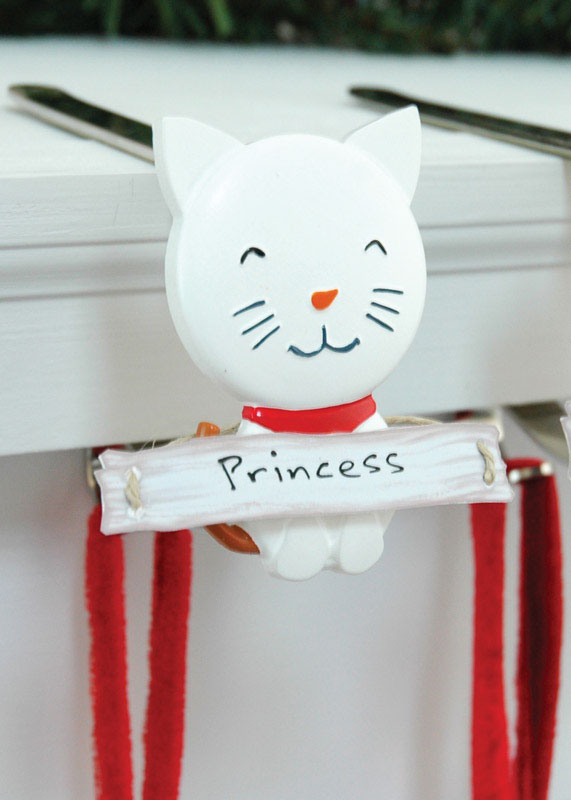 The Original MantleClip  Snowman Cat  Red/White  1 each Porcelain  Mantle Clips