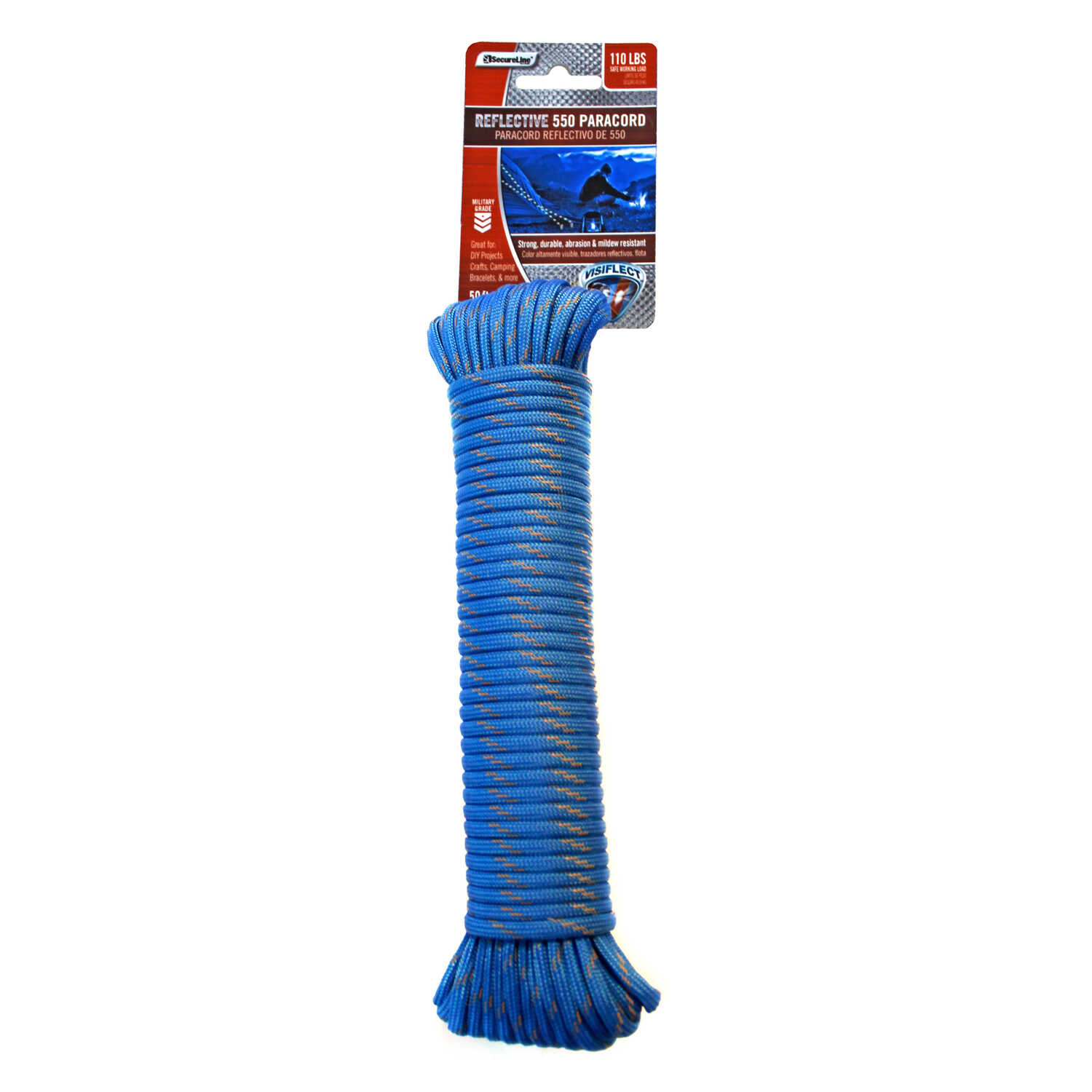 SecureLine  50 ft. L x 5/32 in. Dia. Blue  Diamond Braided  Paracord  Nylon