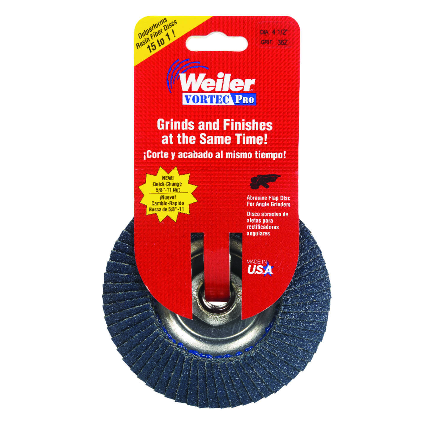 Weiler  Vortec Pro  4-1/2 in. Dia. x 5/8 in.  Zirconia  Type 29  Flap Disc  36 Grit 13000 rpm 1 pc.