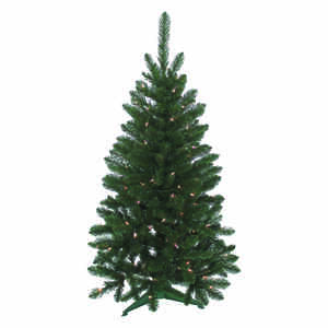 J & J Seasonal  Clear  Prelit 4 ft. Vienna  100 lights 235 tips Artificial Tree