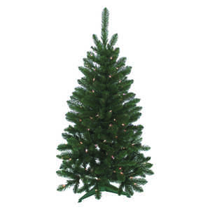 J & J Seasonal  Prelit Clear  Vienna  Artificial Tree  100 lights 235 tips 4 ft.