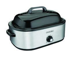 Proctor Silex Polished Chrome Black Aluminized Steel 18 qt. Electric Roaster 9.8 in. H x 17.4 i