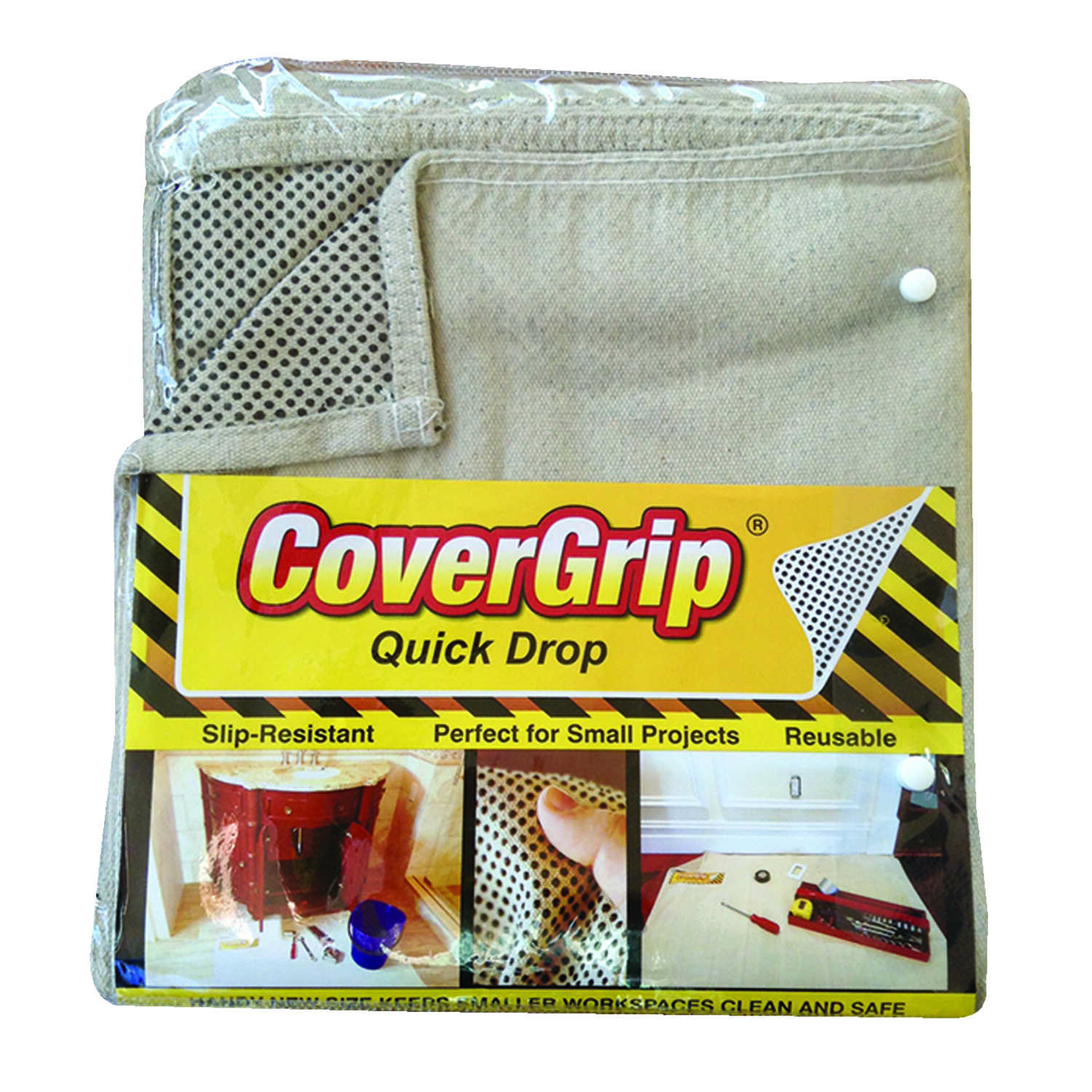 CoverGrip  Light Weight  Canvas  Drop Cloth  3.5 ft. W x 4 ft. L Ivory