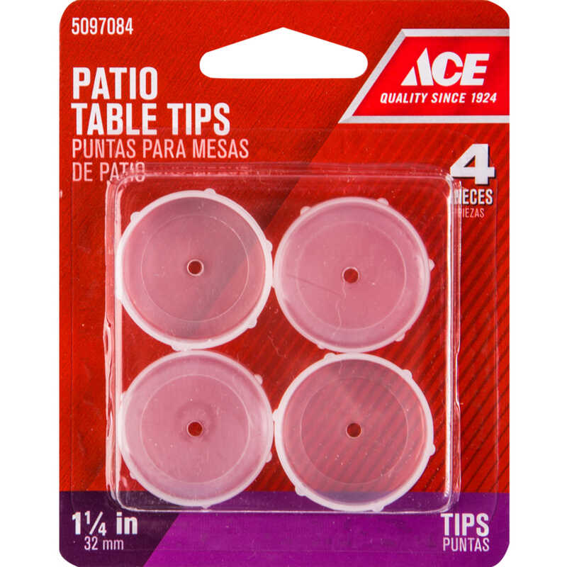 Ace  Plastic  Patio Table Tips  Clear  Round  1-1/4 in. W 4 pk