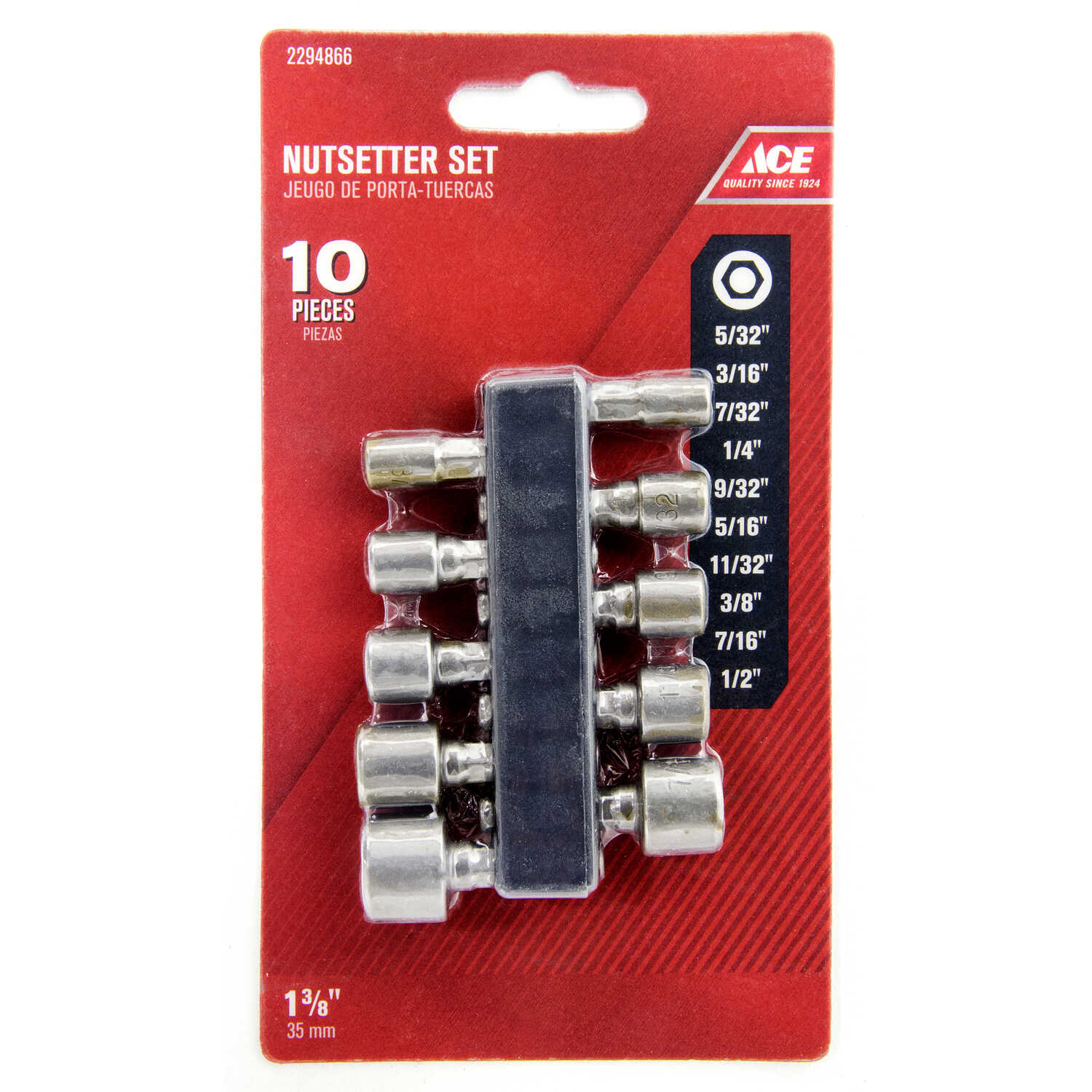 Ace  Hex  Nut Driver Set  S2 Tool Steel  1/4 in. Quick-Change Hex Shank  10 pc.