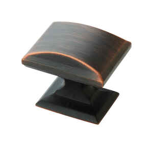 Amerock  Candler  Rectangle  Cabinet Knob  1-1/4 in. Dia. 1-1/8 in. Oil Rubbed Bronze  5 pk