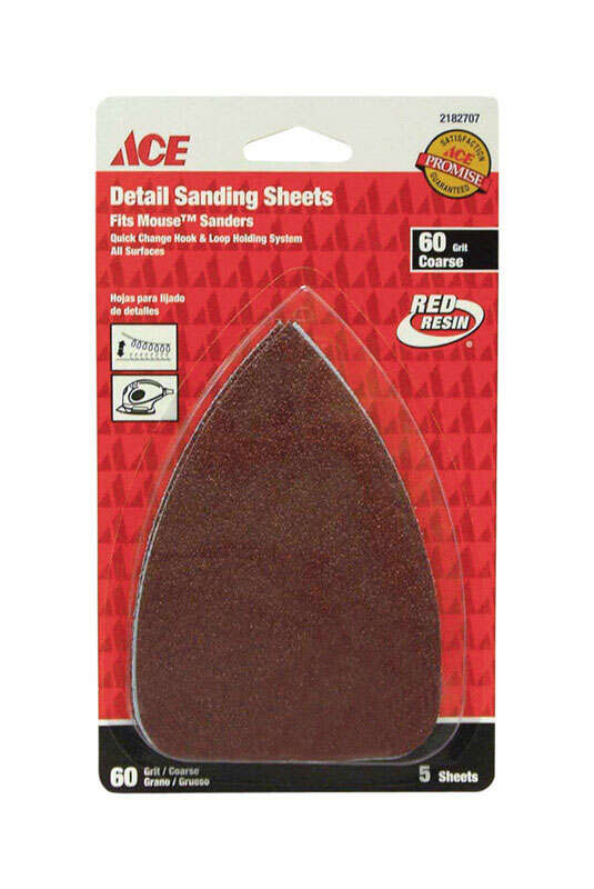 Ace  Mouse  5 in. L x 3-1/2 in. W 60 Grit Aluminum Oxide  Mouse Sandpaper  5 pk