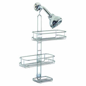 InterDesign  Linea  Shower Caddy  22 in. H x 10.5 in. W x 4.5 in. L Stainless Steel  Silver  steel