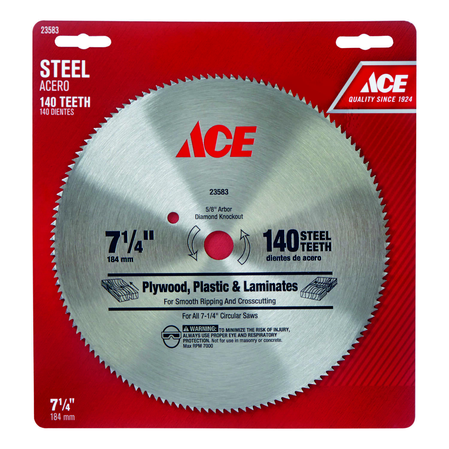 Ace  7-1/4  Circular Saw Blade  140 teeth 1 pk 5/8  Steel