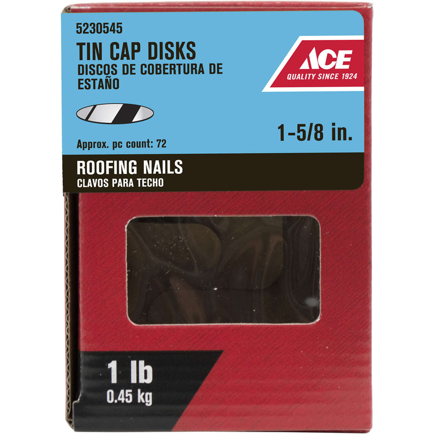 Ace  1-5/8 in. Roofing  Plastic/Steel  Tin Cap Disks  Flat  1 lb.