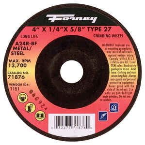 Forney  4 in. Dia. x 1/4 in. thick  x 5/8 in.   Aluminum Oxide  Metal Grinding Wheel  13700 rpm 1 pc