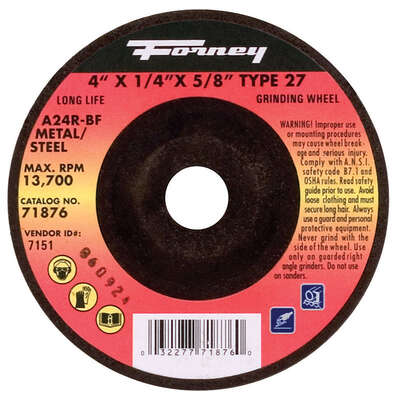 Forney  4 in. Dia. x 1/4 in. thick  x 5/8 in.   Metal Grinding Wheel  1 pc.
