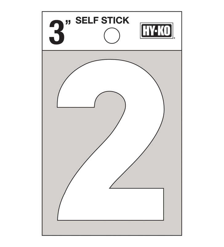 Hy-Ko  3 in. Vinyl  White  Reflective 2  Self-Adhesive  Number