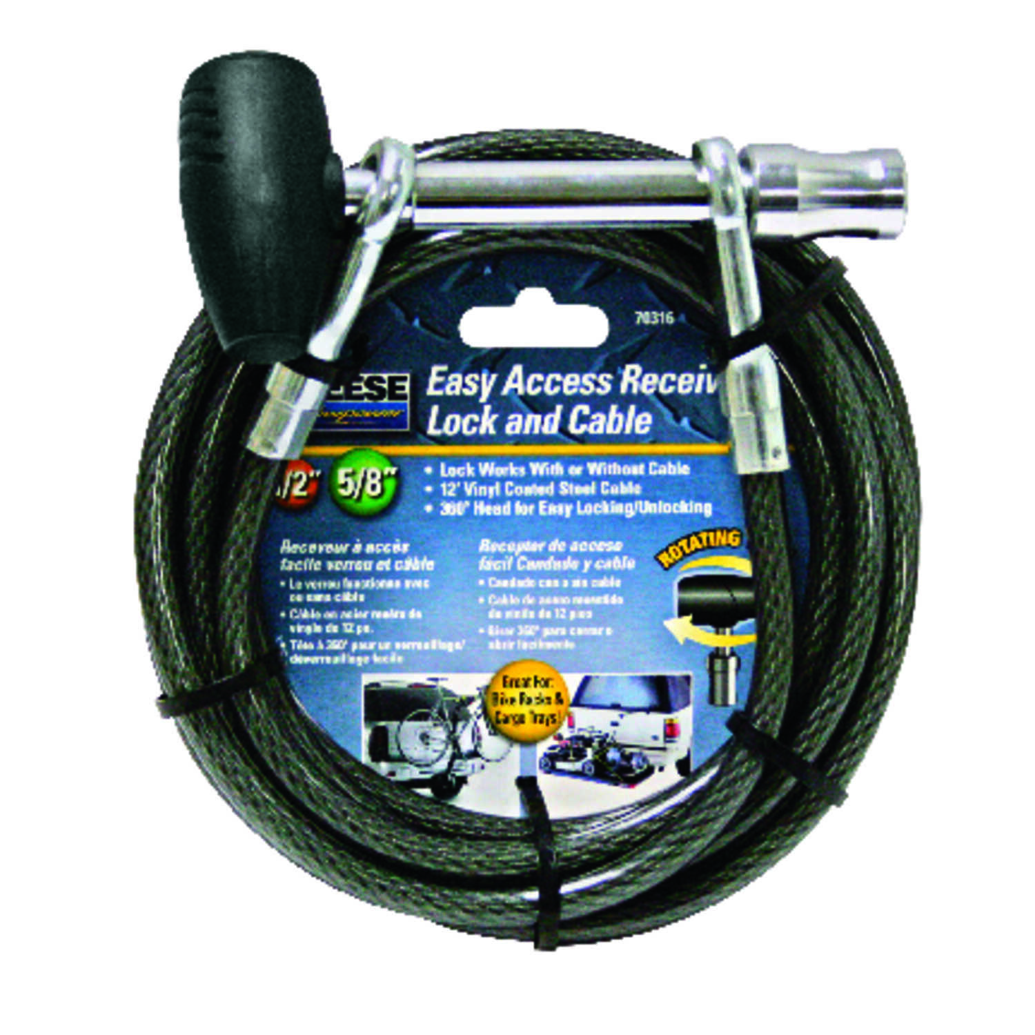 Reese  Vinyl Coated Steel  Locking  12 ft. Receiver Lock and Cable