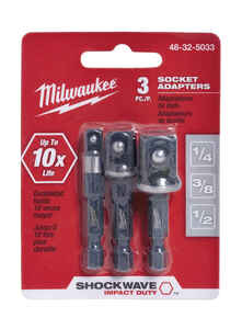 Milwaukee  SHOCKWAVE  Square  2 in. L Impact Duty  Screwdriver Socket Adapter  Steel  3 pc.