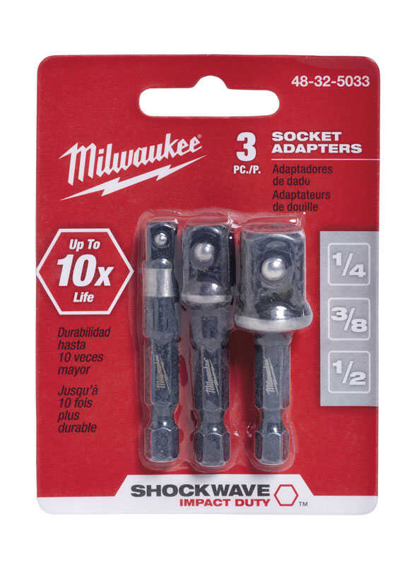 Milwaukee  SHOCKWAVE  2 in. L Impact Duty  Screwdriver Socket Adapter  3/8 in. 3 pc. Square  Hex Sha