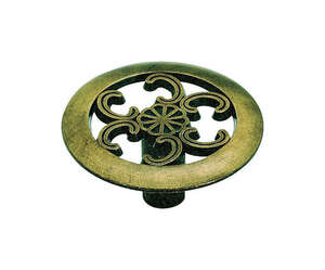 Amerock  Allison  Round  Cabinet Knob  1-1/2 in. Dia. 3/4 in. Antique Brass  1 pk