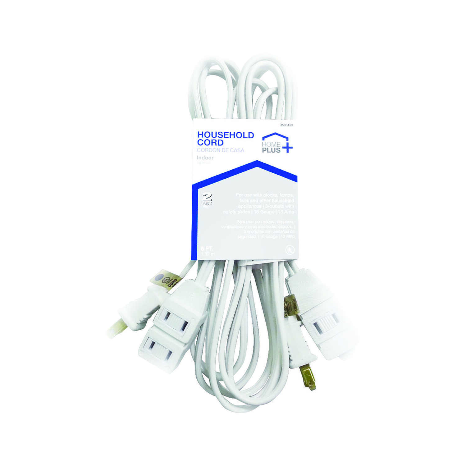 Home Plus  Indoor  6 ft. L White  Extension Cord  16/2 SPT-2